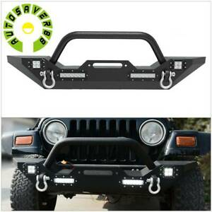 Powder Coated Front Bumper W Led Lights D Ring For 87 06 Jeep Wrangler Yj Tj
