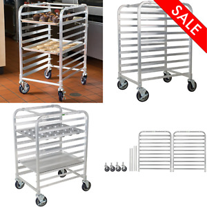 10 Pan End Load Half Height Bun Sheet Rack Unassembled Aluminum Durable Kitchen