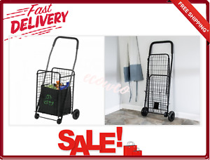 4 Wheel Utility Cart Black Steel Folding Rolling Shopping Transporting Laundry