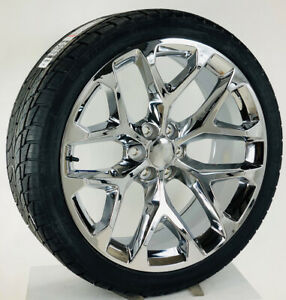Chrome Snowflake 24 Wheels Rims 295 35r24 Tires 2000 18 Chevy Silverado Tahoe