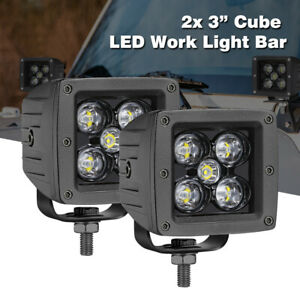 2x 3 inch 12000lm Led Work Light Cube Pods Driving Fog Spot Lights Offroad 6000k