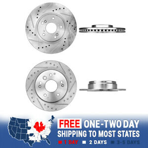 Front Rear Drill And Slot Brake Rotors For 2004 2005 2006 2007 2008 Acura Tl