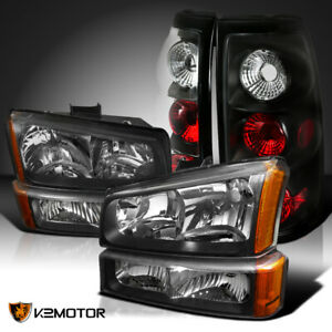 For Black Hevy 2003 2006 Silverado Headlights bumper Lamps tail Brake Lights