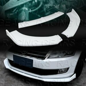 Universal Painted White Front Bumper Lower Body Kit Splitter Spoiler Lip 3 Pcs