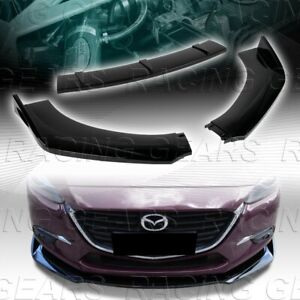 Universal Painted Black Front Bumper Lower Body Kit Splitter Spoiler Lip 3 pcs