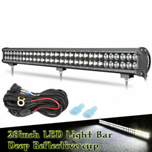 28 Inch Dual Row Led Light Bar Driving Offroad Spot Flood Combo Suv Ute Wiring