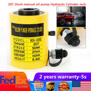 20t Hydraulic Hollow Hole Cylinder Jack Plunger Ram 2inch Manual Oil Pump Duable