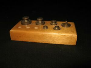 Vintage 6 Pc Brass Scale Weight Set In Wood Block Case