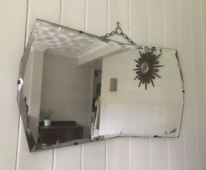 Unusual Vintage Art Deco Bow Shaped Bevelled Edged Wall Mirror Frameless