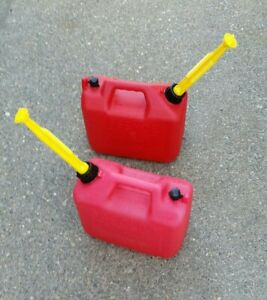 His Her Wedco 2 1 2 Gallon Gas Pre Ban Cans With New Specter Pour Spouts