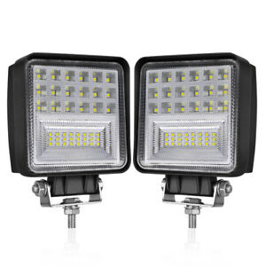2x 4 Led Work Lights Spot Flood Driving Lights Truck Offroad Suv 12v 24v Square