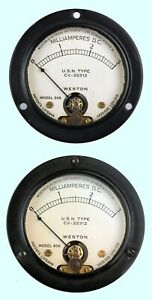 2 1930s 40s Vintage Weston 506 usn Cv 22312 0 3 Milliamperes Panel Meters