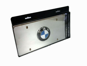 Genuine Bmw Polished Stainless Steel Roundel License Plate Frame 82121470314