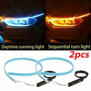 2x 60cm Slim Amber Sequential Flexible Led Drl Turn Signal Strip Light Headlight