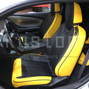 For 10 15 Camaro Coupe Custom Fit Black Yellow Artificial Leather Seat Covers
