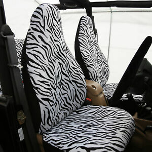 Universal Fit Highback Full Set Seat Covers White Zebra Design For Auto
