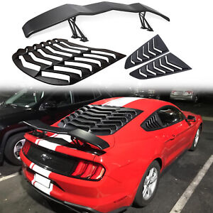 Rear side Window Louvers Trunk Spoiler For 2015 2020 Ford Mustang