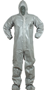 Lot Of 5 Medium Ppe Dupont Tychem Cpf2 Heavyweight Protective Hazmat Coveralls