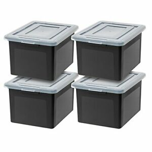 File Storage Container Letter And Legal Size File Box 4 Pack Medium Black New
