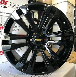 24 Gmc Wheels Tires Chevy Gloss Black Silverado Yukon Suburban Tahoe New Rims