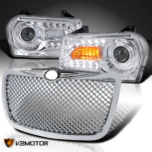 For 05 10 Chrysler 300 Chrome Led Signal Projector Headlights Mesh Hood Grille