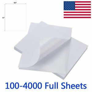 100 4000 Full Sheet Shipping Labels 8 5 X 11 Self Adhesive Blank Sticker Label