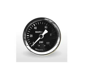 Marshall Gauge 0 100 Psi Fuel Oil Pressure Gauge Black 1 5 Diameter 1 8 Npt