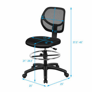 Mesh Drafting Chair Mid Back Office Chair Adjustable Height W footrest Armless