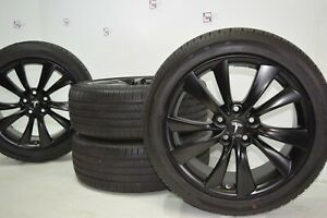 19 Tesla Model S Satin Black Wheels Rims Tires Original Factory Oem Cyclone 19
