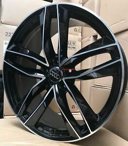 22 Inch Audi Q7 Oe Style Black Machine Wheels With Tires A7 A8 Q5 Rims