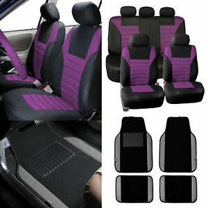 Car Seat Covers Purple For Auto Car Suv With Gray Leather Trim Floor Mats