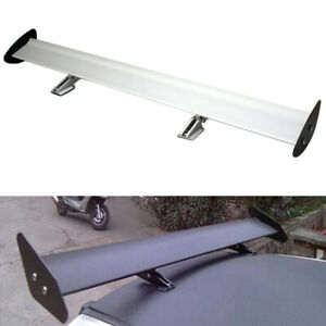 Rear Car Trunk Gt Wing Racing Spoiler Lightweight Silver Universal For Hatchback