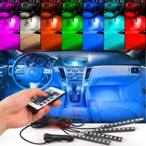 Car Led Lights Kit Under Dash Foot Well Seats Inside Lighting Glow Full Color Us