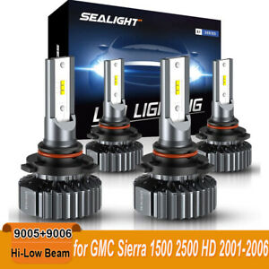 4x Led Headlight Kit 9005 9006 Combo Bulbs Hi Low Beam 13000lm 6000k Cool White