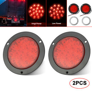 2x 4 16led Red Round Truck Trailer Brake Stop Turn Tail Signal Lights Grommet