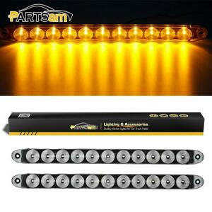 2x15 Clear Amber Led Turn Signal 11 Diodes Truck Trailer Rv Board Light Bar