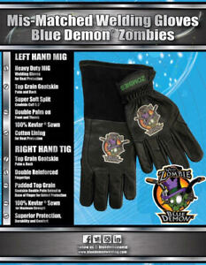 Mis matched Welding Gloves Blue Demon Zombies