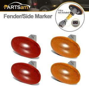 4x Amber Red Dually Bed Fender Clearance Side Marker Lights Cover Lens For Ford