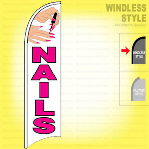 Nails Windless Swooper Flag 2 5x11 5 Ft Feather Salon Manicure Banner Sign Wb