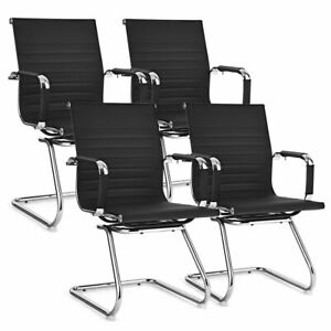 Set Of 4 Office Guest Chairs Waiting Room Chairs For Reception Conference Area