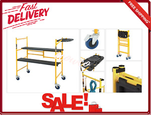 Mini Rolling Dolly Scaffold With Tool Shelf 4x4x2 Ft 500 Lb Load Capacity