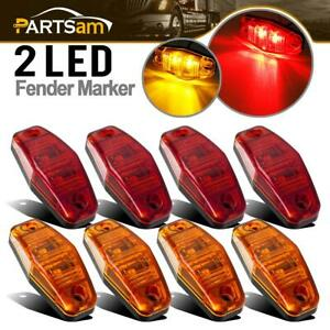 8pcs Led Light Red amber Surface Mount Clearance Universal Side Marker Trailer