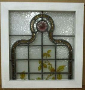 Victorian English Leaded Stained Glass Window Hand Painted Vines 18 25 X 19