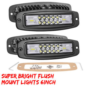 2x 6 inch 144w Flush Mount Led Work Lights Spot Flood Combo Offroad Driving Lamp