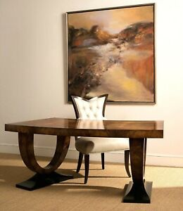 New 77 Modern Art Deco Brown Burl Wood Horchow Curved Walnut Writing Desk Table