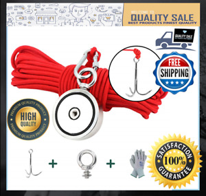 1300lbs Double Sided Fishing Magnet Kit With Grappling Hook Glove Rope Lnm94 2