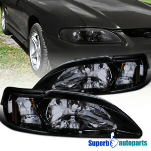 For 1994 1998 Ford Mustang Gt Svt Glossy Black Smoke Headlights Corner Lamps