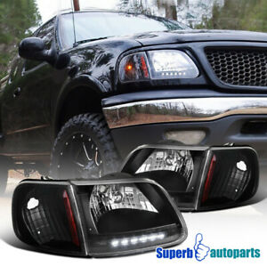 For 1997 2003 Ford F150 Expedition Led Strip Headlights Black W Signal Lamps