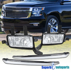 For 2015 2020 Chevy Tahoe Suburban Fog Lights Pair W Chrome Trim Switch Relay