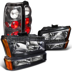 For 2003 2006 Silverado Headlights Bumper Signal Lights Tail Brake Lamps Black